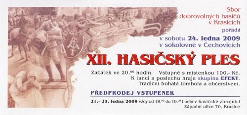XII. HASIČSKÝ PLES 24. 1. 2009